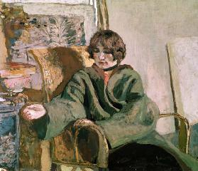 Woman seated next to a stove (oil on canvas)