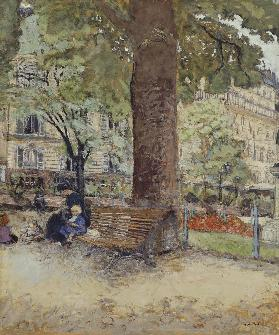 The Square at Vintimille, c.1925 (tempera on paper)