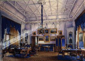 The blue Study room of Emperor Alexander II in the Farm Palace in Peterhof
