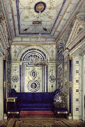 The Blue Study in the Grand Palais in Tsarkoye Selo, before 1840 (w/c, gouache & ink on paper)