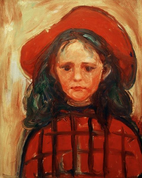 Girl in Red Checkered Dress and Red Hat