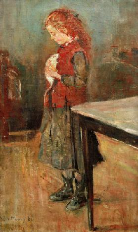 Red-haired girl with white rat