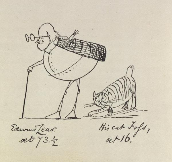 Edward Lear Aged 73 and a Half and His Cat Foss, Aged 16 (litho)