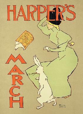 Reproduction of a poster advertising 'Harper's Magazine, March edition', American