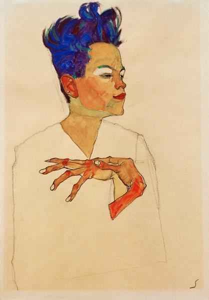 Self-Portrait with Hands on Chest 1910