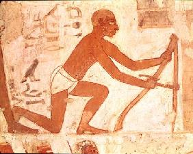 Construction of a wall, detail of a man with a hoe, from the Tomb of Rekhmire, vizier of Tuthmosis I