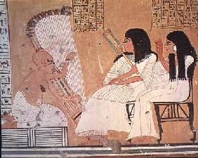 The deceased and his wife listening to a blind harpist, from the Tomb of Ankerkhe, Workmen's Tombs,