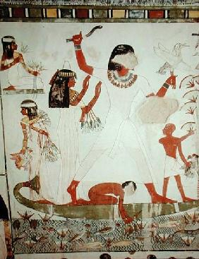 Egyptien  - Fishing and fowling in the marshes, detail from the Tomb Chapel of Menna, New Kingdom