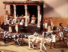 Funerary model of a census of livestock, from the Tomb of Meketre, Thebes, Middle Kingdom
