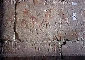 Harvest scene, detail of relief decoration from the Mastaba of Akhethotep at Saqqara