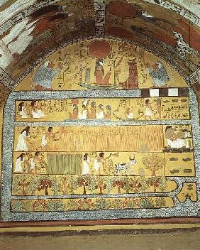 Harvest Scene on the East Wall, from the Tomb of Sennedjem, The Workers' Village, New Kingdom