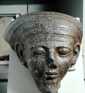 Head of a priest, from a sarcophagus, New Kingdom