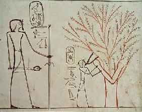 Isis metamorphosed into a sycamore tree suckling Tuthmosis III (c.1479-1425 BC)