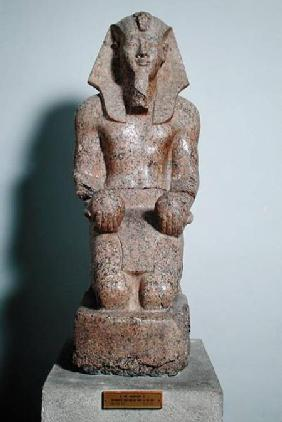 Kneeling statue of Amenhotep II (1427-1392 BC) holding offerings of wine, from Thebes, New Kingdom