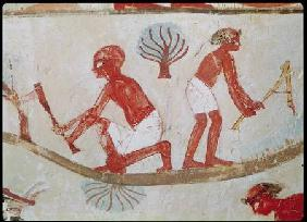 Labourer and Lumberjack at Work, from the Tomb of Nakht, New Kingdom
