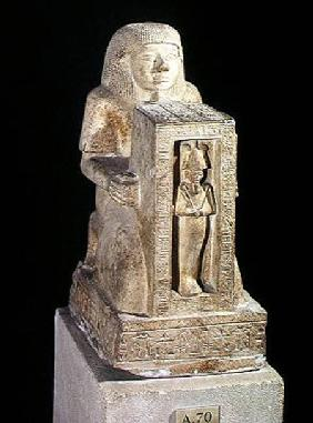 Naophorous statue of the royal scribe, Seti, with Osiris in the naos, New Kingdom