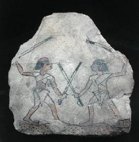 Ostrakon depicting two men fighting with sticks, from Deir El-Medina, New Kingdom