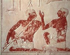 Painted relief depicting a flute player and a singer at a funerary banquet, from the Tomb of Nenkhef