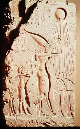 Relief depicting Amenophis IV (Akhenaten) (c.1364-47 BC), Nefertiti and their Daughter, Meritaton, M