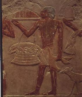 Relief depicting a porter with a basket of fledglings, from the Tomb of Princess Idut, Old Kingdom