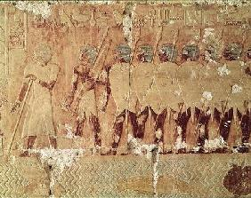 Relief depicting soldiers sent by Queen Hatshepsut on an expedition to the Land of Punt to bring bac