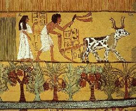 Sennedjem and his wife in the fields sowing and tilling, from the Tomb of Sennedjem, The Workers' Vi