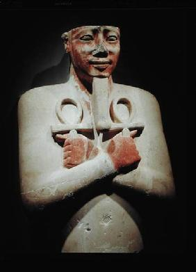 Statue of Sesostris I (c.1918-1875 BC) holding the ankh in both hands crossed over his chest, from t