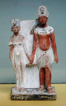 Statuette of Amenophis IV (Akhenaten) and Nefertiti, from Tell el-Amarna, Amarna Period, New Kingdom