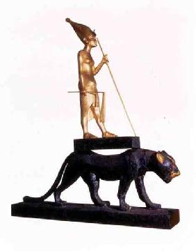 Statuette of the king upon a Leopard. from the Tomb of Tutankhamun (c.1370-1352 BC) New Kingdom (woo