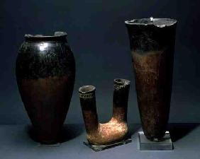 Three vessels, Egyptian, Naqada I Period (4000-3500 BC) and Naqada II Period (3500-3100 BC) (terraco