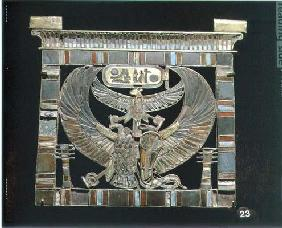 Pectoral of Ramesses II (c.1290-1224 BC) New Kingdom (gold, glass & turquoise) (see also 55440)
