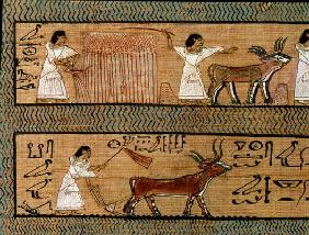 Reaping and ploughing, detail from a depiction of farming activities in the afterlife, from the Book