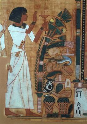 The Fumigation of Osiris, page from the Book of the Dead of Neb-Qued, Egyptian, New Kingdom (papyrus