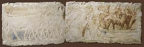Relief of Peasants Driving Cattle and Fishing, Old Kingdom, 2450-2290 BC