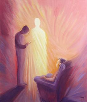 Jesus Christ comes to us in Holy Communion when we are sick or housebound, 1993 (oil on panel)