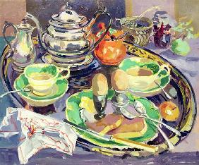 The Breakfast Tray (oil on canvas)