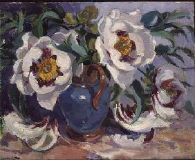 White Peonies in a Blue Jug (w/c)