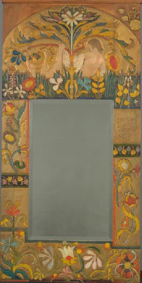 Mirror frame decorated with plants, flowers and two women figures