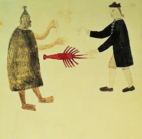 A Maori bartering a crayfish with an English naval officer, from a series of drawings illustrative o