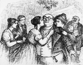 It was a pleasant thing to see Mr. Pickwick in the centre of the group'', illustration from ''The Pi