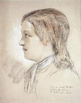 Study for the Head of Alex Pope: introduction to Dryden, At Butler's Coffee House (pencil, chalk &