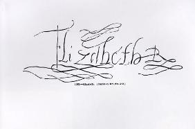 Signature of Queen Elizabeth I (1533-1603) (pen and ink on paper) (b/w photo)
