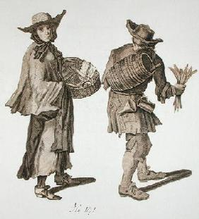 'Buy a new Almanac! Fine writing ink!', illustration of street sellers around 1675 (engraving)
