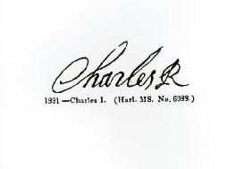 Signature of King Charles I (1600-49) (engraving) (b/w photo)