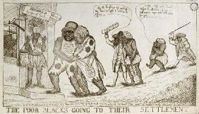 The Poor Blacks Going to their Settlement, pub. by E. Macklew, 1787 (etching)
