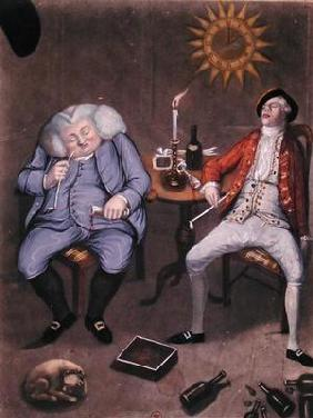 The Solid Enjoyment of Bottle and Friend, 1774 (colour litho heightened with gouache)