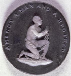 Wedgwood jasper medallion decorated with a slave in chains and inscribed with 'Am I not a Man and a