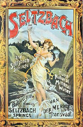 Poster advertising 'Seltzbach' pure natural mineral water from the Seltzbach Springs, Van der Merwe,