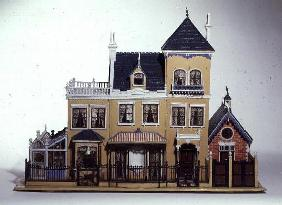 Model villa made of carved wood in the architectural style of 1860's made by Thomas Risley (1872-193