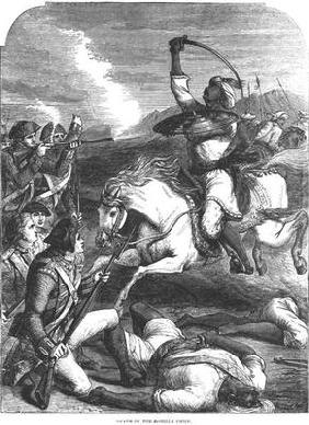 Death of the Rohilla Chief in 1781 (engraving) (b&w photo)